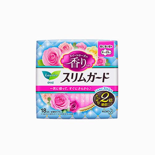 japantop-[KAO] 카오 로리에 생리대 슬림 가드 향기 날개형 25cm 18개입 핑크
