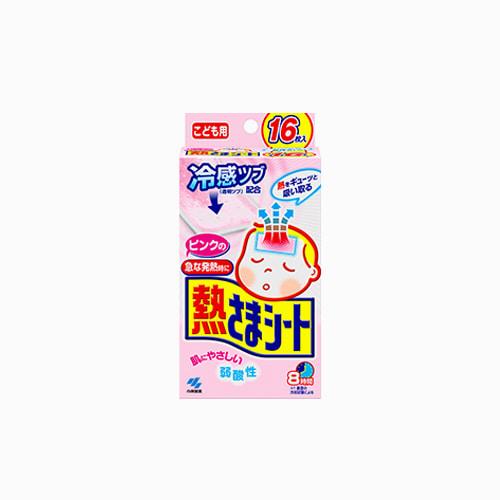 japantop-[KOBAYASHI] 고바야시 열냉각시트, 열내리젤시트 유아용 핑크 1갑 16매