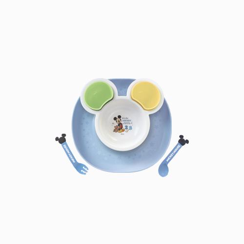 재팬픽-[NISHIKI KASEI] 미키마우스 캐치플레이트 식기 세트